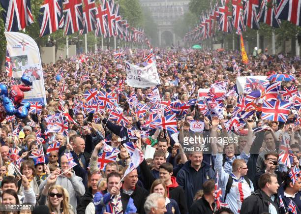 Crowd scenes at the Mall as thousands of well-wishers from around the world have flocked to London to witness the Wedding of Prince William and...