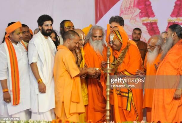 Crowd seen during the 80th birthday celebration of Mahant Nritya Gopal Das Chairman of Ram Janambhoomi Nyas on June 25 2018 in Ayodhya India Hinting...