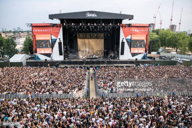 Crowd shot of The Vaccines performing on stage at Finsbury Park on July 1 2018 in London England