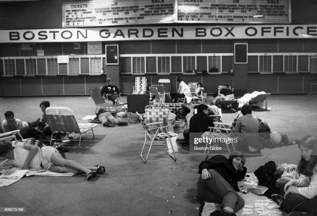 A Crowd Sleeps And Waits For The TD Garden Box Office To Open For Bruins  Exhibition