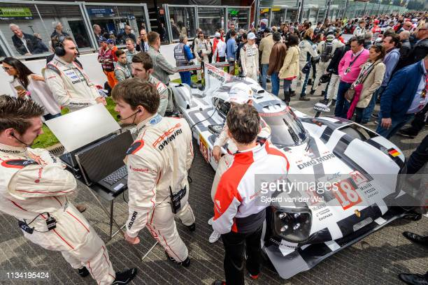 Crowd standing around the Porsche 919 Hybrid driven by DUMAS R JANI N LIEB M at the start grid during the 6 Hours of SpaFrancorchamps race the second...