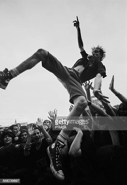 Crowd surfer in the crowd at the Big Day Out Festival Perth WAustralia 1990s