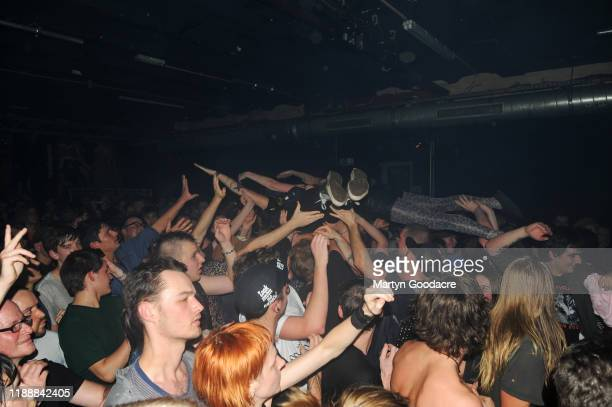 Crowd surfing in the audience while The Chats perform on stage at Cassiopeia November 18 2019 in Berlin Germany