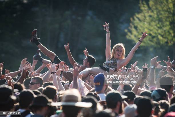 Crowd surfing Sunday at Warped Tour Sunday located at Merriweather Post Pavilion
