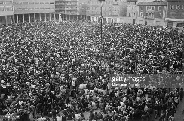 'A crowd taking part in a political demonstration Bologna 8th August 1977 '