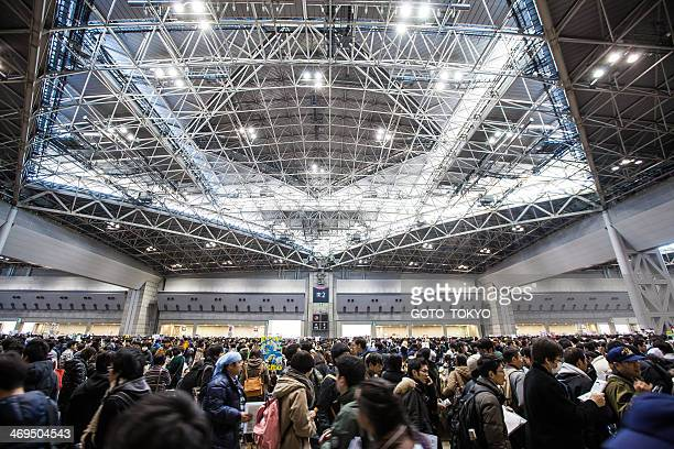 crowd that gathered at the 85th comic market - tradeshow stock pictures, royalty-free photos & images