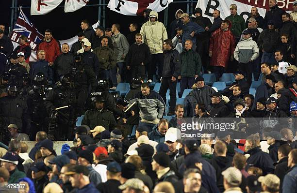 Crowd trouble between fans during the UEFA European Championship Qualifying Group 7 match between Slovakia and England at the Tehelne Pole Stadium in...
