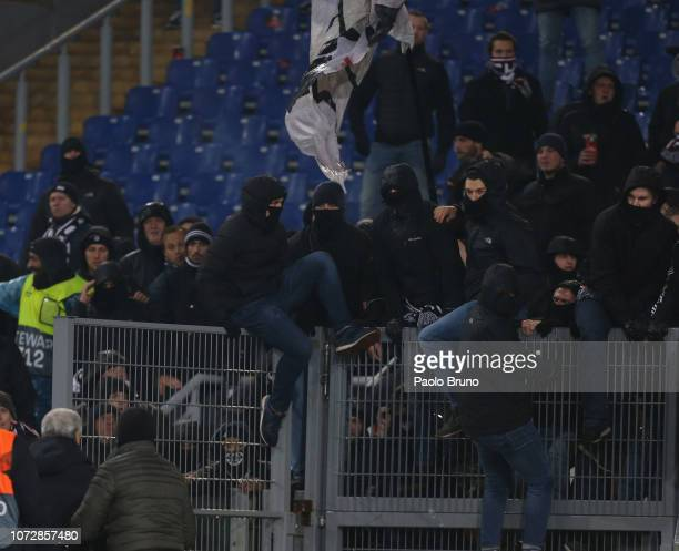 Crowd trouble during the UEFA Europa League Group H match between SS Lazio and Eintracht Frankfurt at Stadio Olimpico on December 13 2018 in Rome...