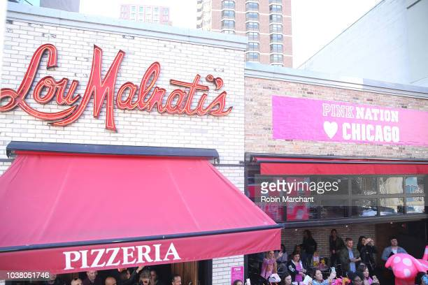 Crowd wait at Lou Malnati's at Victoria's Secret PINK And Marshmello Team Up For 'PINK Loves Chicago' event on September 22 2018 in Chicago Illinois