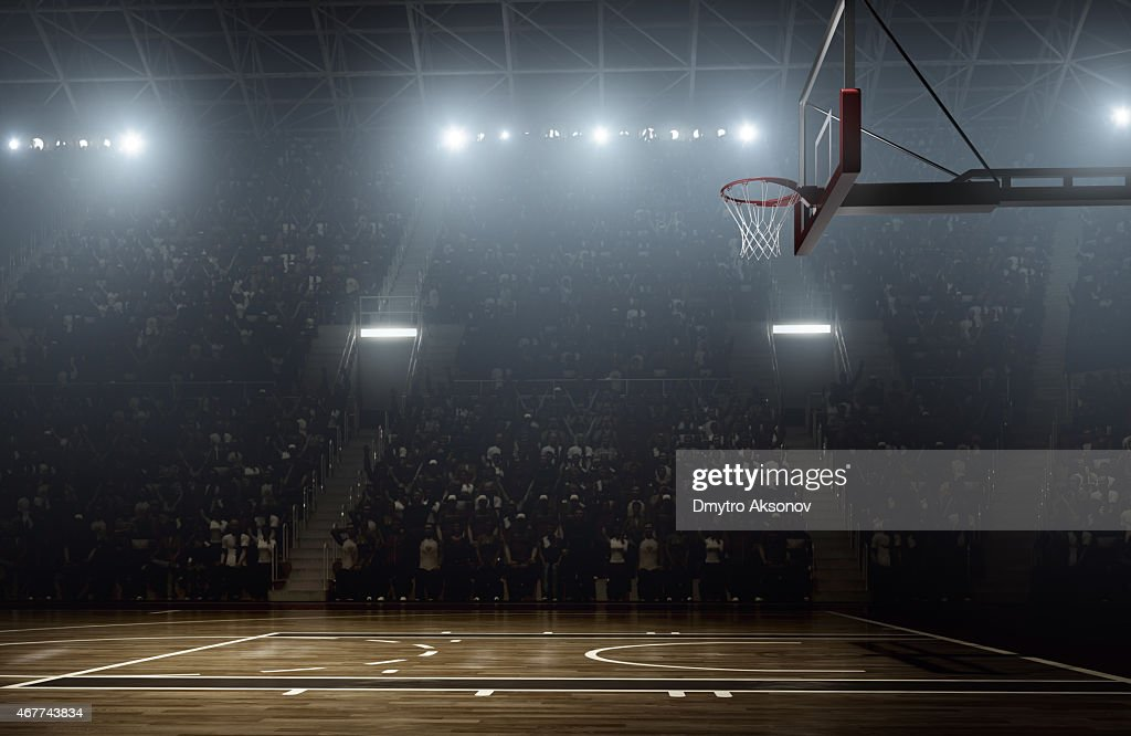 Crowd waiting for basketball teams to enter the arena : Stock Photo