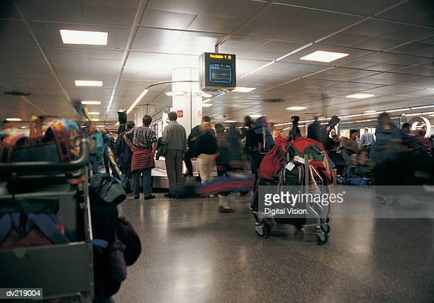 Crowd waiting in airport terminal