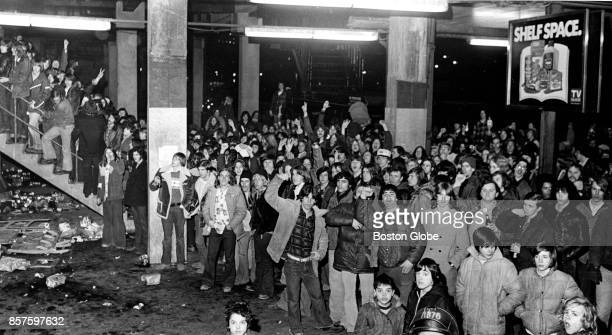 Crowd waiting in line to purchase advance tickets to a Led Zeppelin concert grows unruly at Boston Garden, Jan. 6, 1975.