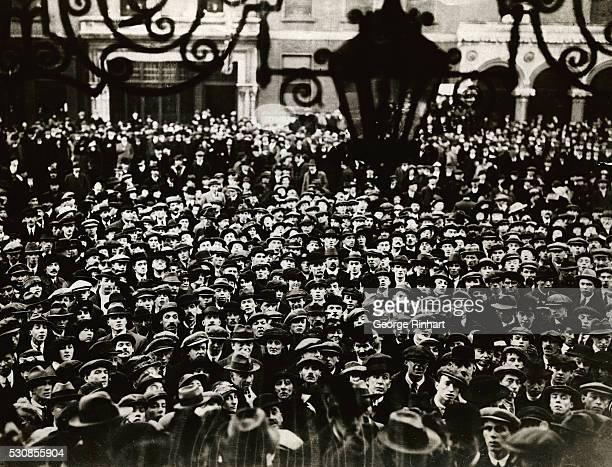 Crowd Waiting Outside Dublin Mansion House fro Sinn Fein Parliament