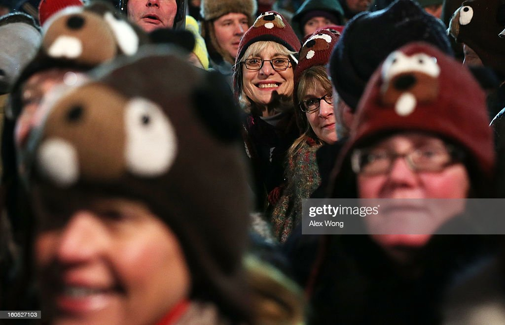 A crowd waits for the Punxsutawney Phil to come out from his winter den during the 127th Groundhog Day Celebration at Gobbler's Knob on February 2, 2013 in Punxsutawney, Pennsylvania. The Punxsutawney 'Inner Circle' claimed that there were about 35,000 people gathered at the event to watch Phil's annual forecast.