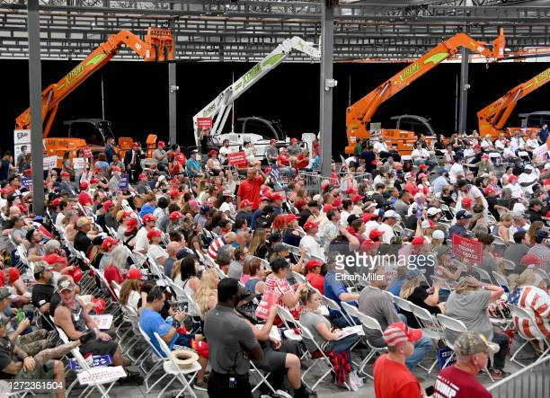 Crowd waits for U.S. President Donald Trump to speak at a campaign event at Xtreme Manufacturing on September 13, 2020 in Henderson, Nevada. Trump's...