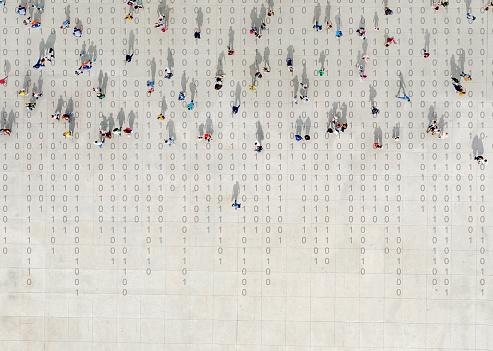 Crowd walking over binary code 1185884207