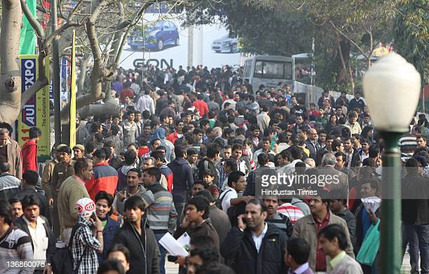 Crowd was seen on the last day of the 11th Auto Expo 2012 at Pragati Maidan on January 11 2012 in New Delhi India
