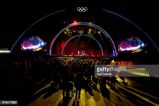A crowd watches a concert after the Medal Ceremony for the CrossCountry Skiing Ladies' 75km 75km Skiathlon on day one of the PyeongChang 2018 Winter...