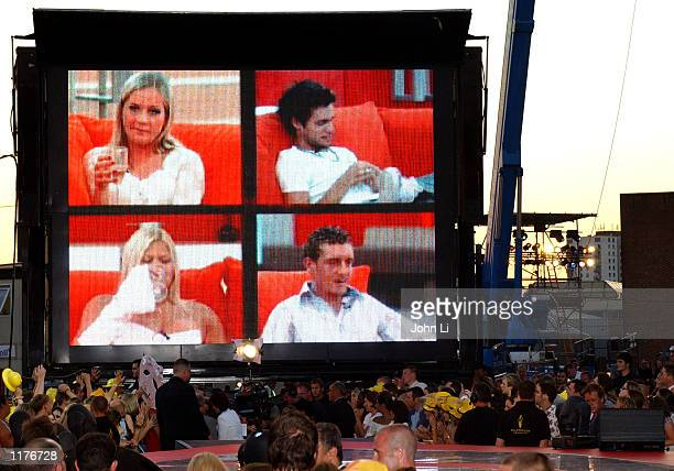 A crowd watches a projection screen showing the final four contestants of Big Brother 3 reality TV series outside the Big Brother House on July 26...