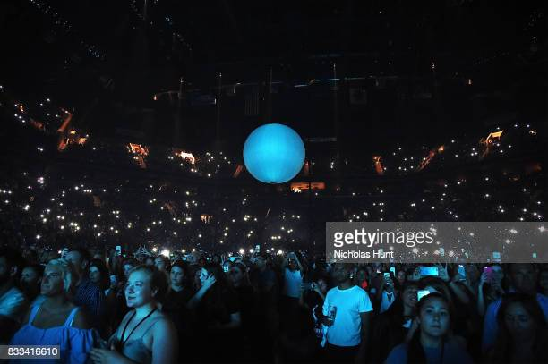 Crowd watches on as Shawn Mendes With Charlie Puth perform in concert at Barclays Center of Brooklyn on August 16 2017 in the Brooklyn borough of New...