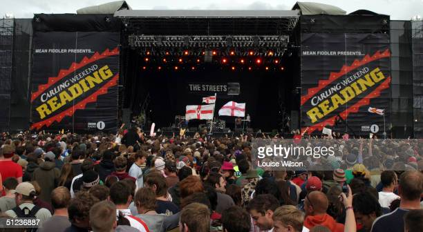 "Crowd watches The Streets perform on stage on the third day of ""The Carling Weekend: Reading Festival"" on August 29, 2004 in Reading, England. The..."