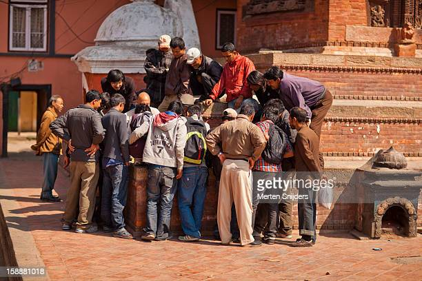 Crowd watching chess at Durbar square