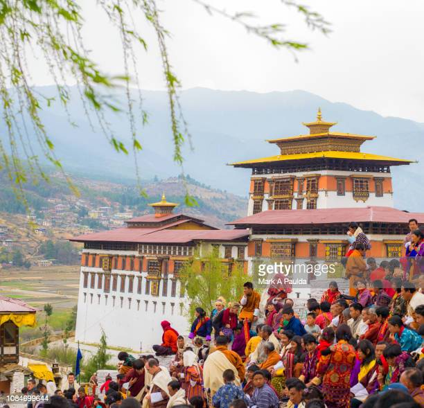 crowd watching the paro festival in bhutan - パロ ストックフォトと画像