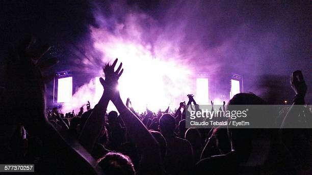 Crowd With Arms Raised At Music Concert