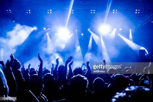 crowd with arms raised during concert - evento de entretenimento imagens e fotografias de stock