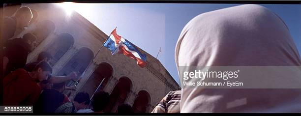 crowd with dominican flag during rally - dominican republic flag stock pictures, royalty-free photos & images