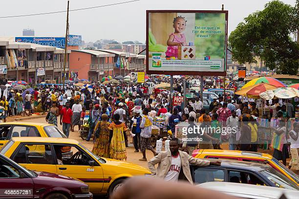 crowded african market - cameroon stock pictures, royalty-free photos & images