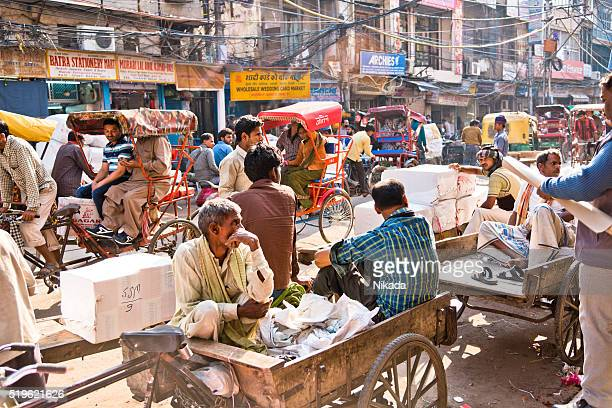 Crowded and busy streets of old Delhi