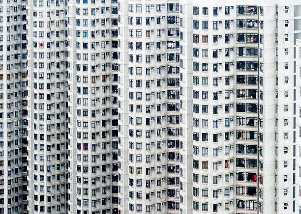 Crowded apartment block in Hong Kong