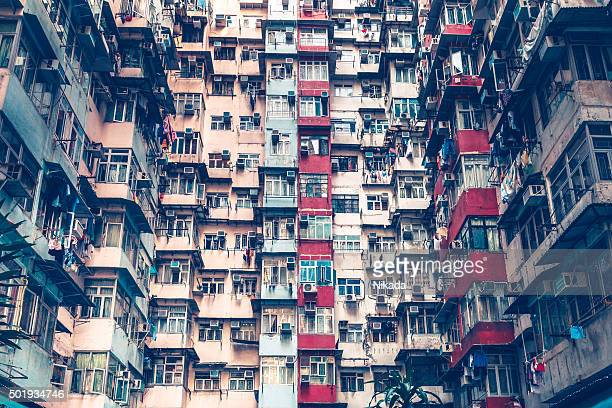 crowded apartment building in Hong Kong, China