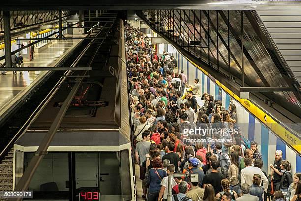 Crowded Barcelona metro station
