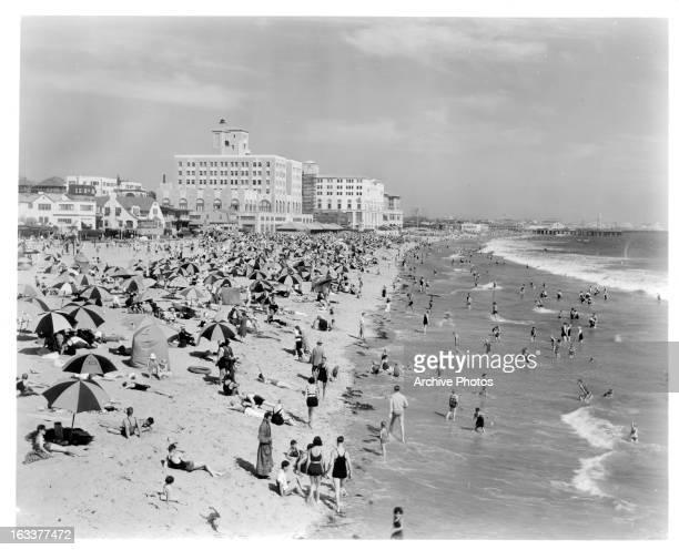 Crowded beach at Pacific Ocean Park in Santa Monica California 1930