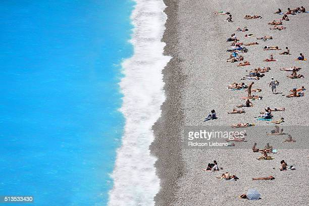 Crowded beach in Nice, France