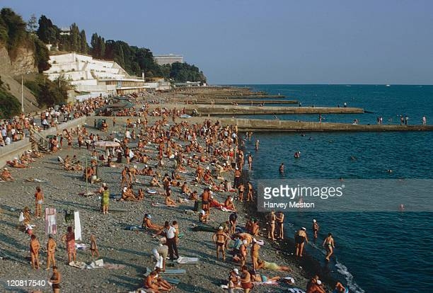 A crowded beach on the Black Sea coast near the city of Sochi former Soviet Union September 1973 Photo by Harvey Meston/Archive Photos/Getty Images