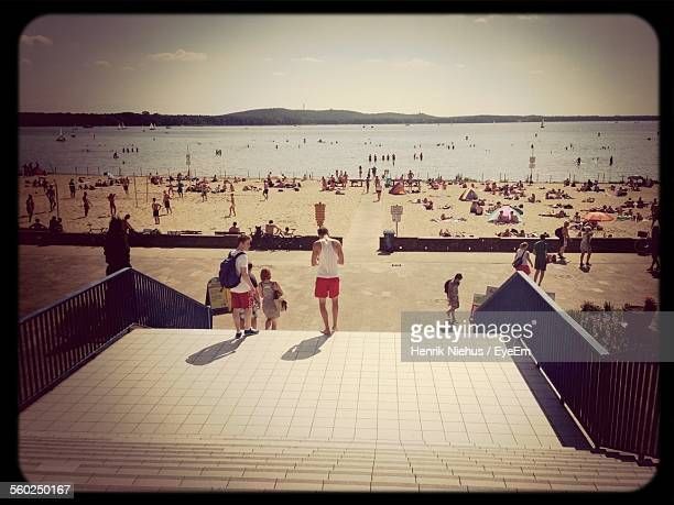 crowded beach - köpenick stock pictures, royalty-free photos & images