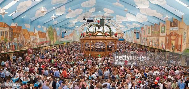 crowded beer tent at Munich Oktoberfest