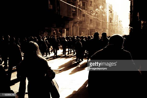 crowded busy street