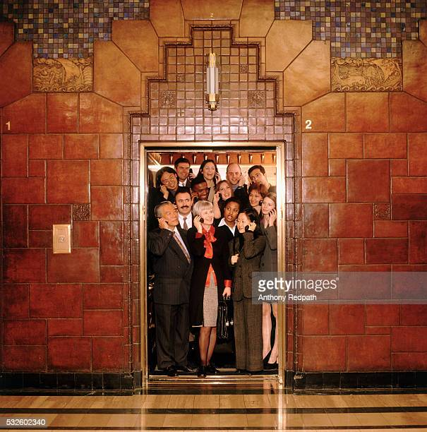 Crowded corporate elevator