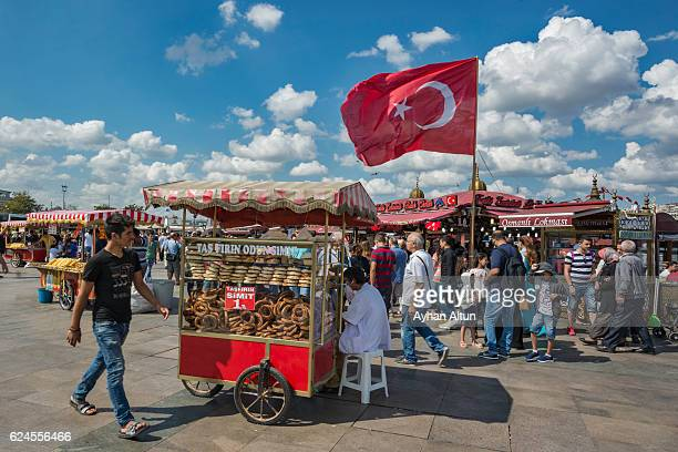 Crowded Eminonu Square in Istanbul,Turkey