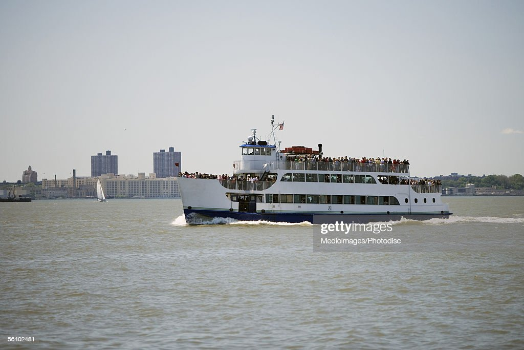 Crowded ferry boat on the Hudson River, New York, USA : Stock Photo