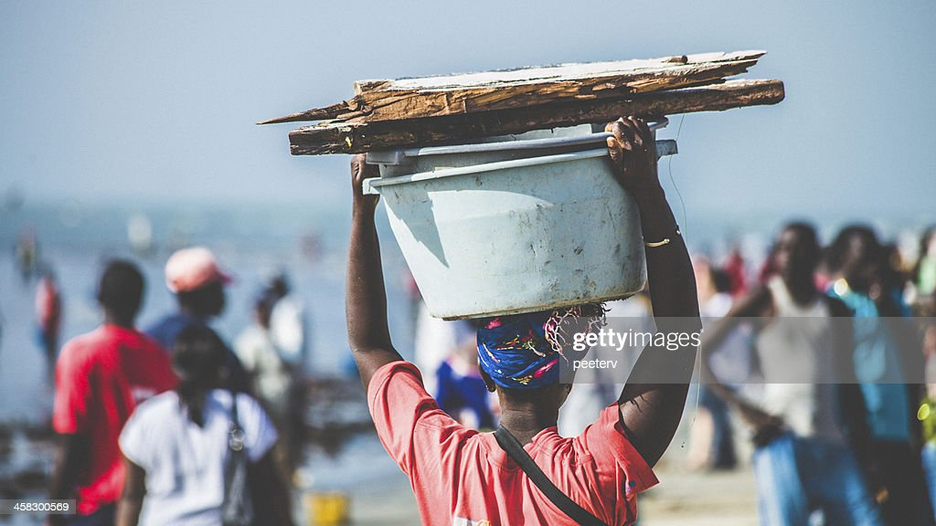 Crowded fish market in West Africa. : Stock Photo
