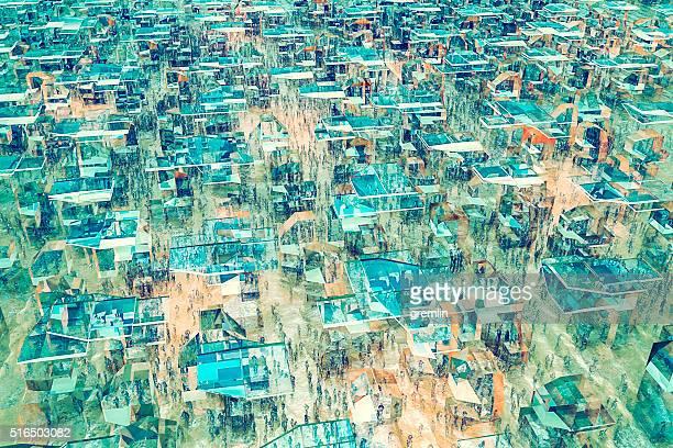 Concurrido futurista paisaje urbano