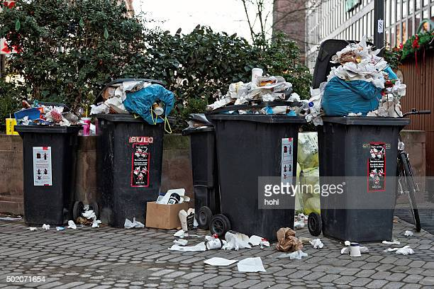 crowded garbage can - overflowing stock pictures, royalty-free photos & images
