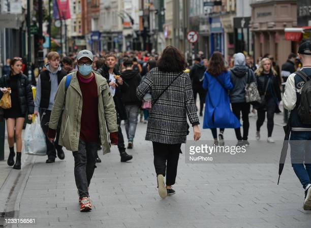 Crowded Grafton Street in Dublin city center. The next stage of defrosting the Irish economy and easing restrictions will be split into a number of...