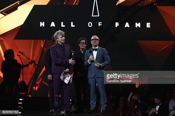 Crowded House accept the ARIA Hallf of Fame Induction during the 30th Annual ARIA Awards 2016 at The Star on November 23 2016 in Sydney Australia