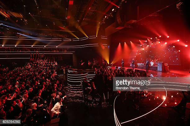Crowded House perform on stage during the 30th Annual ARIA Awards 2016 at The Star on November 23 2016 in Sydney Australia